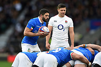Tito Tebaldi of Italy looks to put the ball into a scrum. Guinness Six Nations match between England and Italy on March 9, 2019 at Twickenham Stadium in London, England. Photo by: Patrick Khachfe / Onside Images