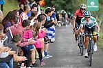 Alberto Contador (ESP) Trek-Segafredo and Miguel Angel Lopez Moreno (COL) Astana attack on the brutal climb of Los Machucos during Stage 17 of the 2017 La Vuelta, running 180.5km from Villadiego to Los Machucos. Monumento Vaca Pasiega, Spain. 6th September 2017.<br /> Picture: Unipublic/&copy;photogomezsport   Cyclefile<br /> <br /> <br /> All photos usage must carry mandatory copyright credit (&copy; Cyclefile   Unipublic/&copy;photogomezsport)