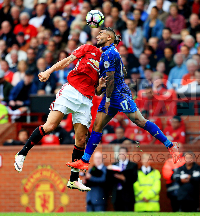 Danny Simpson of Leicester City challenges Zlatan Ibrahimovic of Manchester United during the Premier League match at Old Trafford Stadium, Manchester. Picture date: September 24th, 2016. Pic Sportimage
