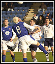 26/10/02       Collect Pic : James Stewart                     .File Name : stewart-qots v ross county 02.QUEEN OF THE SOUTH'S STEVEN BOWEY GETS A SMACK IN THE MOUTH FROM STEVEN HISLOP AS HE GOES FO A HIGH BALL.............James Stewart Photo Agency, 19 Carronlea Drive, Falkirk. FK2 8DN      Vat Reg No. 607 6932 25.Office : +44 (0)1324 570906     .Mobile : + 44 (0)7721 416997.Fax     :  +44 (0)1324 570906.E-mail : jim@jspa.co.uk.If you require further information then contact Jim Stewart on any of the numbers above.........