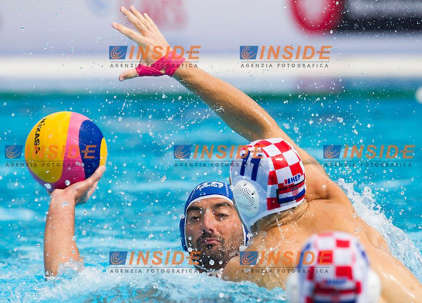 Maurizio Felugo ITA and Andelo Setka CRO<br /> Italy Croatia<br /> Waterpolo Final 3rd - 4th place<br /> 15th FINA World Aquatics Championships<br /> Piscina Picornell, Barcelona (Spain) 03/08/2013 <br /> &copy; Giorgio Perottino / Deepbluemedia.eu / Insidefoto