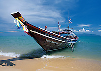 Thailand, island Ko Samui, Maenam Beach: Long-Tail-Boot for island Ko Pha Ngan
