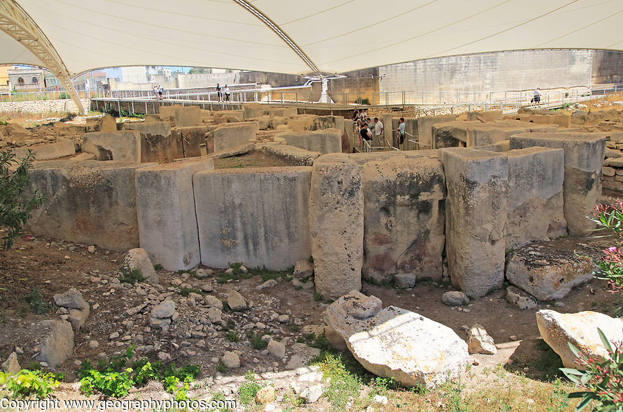 Tarxien neolithic megalithic prehistoric temple complex site, Malta
