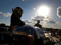 May 16, 2014; Commerce, GA, USA; NHRA top fuel dragster driver Richie Crampton prepares to climb into his car during qualifying for the Southern Nationals at Atlanta Dragway. Mandatory Credit: Mark J. Rebilas-USA TODAY Sports