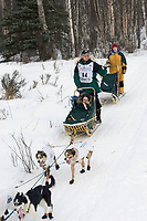 Jeff Holt w/Iditarider on Trail 2005 Iditarod Ceremonial Start near Campbell Airstrip Alaska SC
