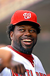 4 August 2007: Washington Nationals first baseman Dmitri Young laughs with teammates prior to a game against the St. Louis Cardinals at RFK Stadium in Washington, DC. The Nationals defeated the Cardinals 12-1 in the second game of their 3-game series...Mandatory Photo Credit: Ed Wolfstein Photo