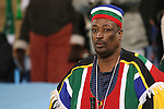 19 JUN 2010: A South Africa fan, pregame. The Denmark National Team defeated the Cameroon National Team 2-1 at Loftus Versfeld Stadium in Tshwane/Pretoria, South Africa in a 2010 FIFA World Cup Group E match.