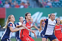 Portland, OR - Saturday July 22, 2017: Kristie Mewis, Christine Sinclair, Shelina Zadorsky during a regular season National Women's Soccer League (NWSL) match between the Portland Thorns FC and the Washington Spirit at Providence Park.