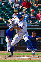 Iowa Cubs outfielder John Andreoli (7) at bat during a game against the Colorado Springs Sky Sox on September 4, 2016 at Principal Park in Des Moines, Iowa. Iowa defeated Colorado Springs 5-1. (Brad Krause/Four Seam Images)