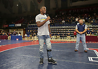 PHILADELPHIA, PA - NOVEMBER 18: USA freestyle wrestler Richard Perry address' the crowd after being introduced by former olympian Brandon Slay during his first public appearance, since suffering a brain injury during a training accident, at the Keystone Classic on November 18, 2018 at The Palestra on the campus of the University of Pennsylvania in Philadelphia, Pennsylvania. (Photo by Hunter Martin/Getty Images) *** Local Caption *** Richard Perry;Brandon Slay