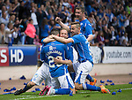 St Johnstone v Alashkert FC...09.07.15   UEFA Europa League Qualifier 2nd Leg<br /> Michael O'Halloran celebrates his goal with Steven Anderson, Tam Scobbie and Steven MacLean<br /> Picture by Graeme Hart.<br /> Copyright Perthshire Picture Agency<br /> Tel: 01738 623350  Mobile: 07990 594431