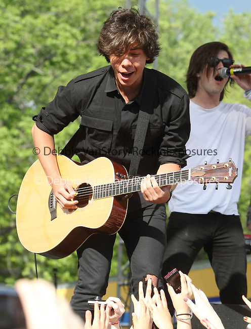 Cameron Quiseng and Zachary Porter of the pop band Allstar Weekend performs at Rockford Park in Wilmington, Delaware May 7, 2011. .Copyright EML/Rockinexposures.com.