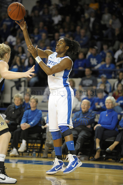 UK's Victoria Dunlap passes the ball during the University of Kentucky Women's basketball game against Vanderbilt at Memorial Coliseum in Lexington, Ky., on 1/23/11. Uk led the game at half 37-22. Photo by Mike Weaver | Staff