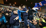 Andy Halliday celebrates with the fans at full-time