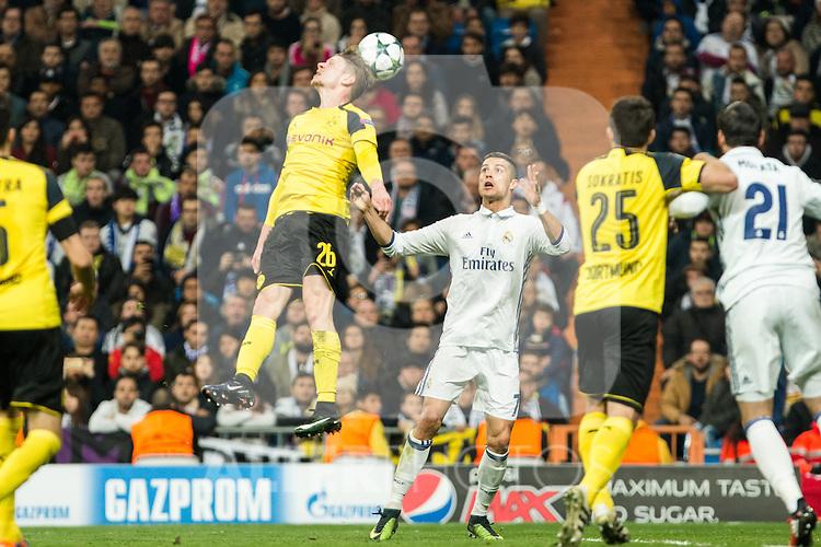 Borussia Dortmund GLucasz Piszczek, Real Madrid's Cristiano Ronaldo  during Champions League match between Real Madrid and Borussia Dortmund  at Santiago Bernabeu Stadium in Madrid , Spain. December 07, 2016. (ALTERPHOTOS/Rodrigo Jimenez)