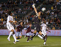 Colorado Rapids goalkeeper Preston Burpo (17) and LA Galaxy forward Carlos Ruiz (20) each miss a crossball in the box. The Colorado Rapids defeated the LA Galaxy 1-0 during the preliminary rounds of the 2008 US Open Cup at Home Depot Center stadium in Carson, Calif., on Tuesday, May 27, 2008.