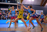 Karin Burger takes a pass during the ANZ Premiership netball final between the Central Pulse and Southern Steel at Arena Manawatu in Palmerston North, New Zealand on Sunday, 12 August 2018. Photo: Dave Lintott / lintottphoto.co.nz