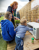 Pictured: Julie Morgan AM (R) meets parents and children. Thursday 21 March 2019<br /> Re: Julie Morgan, AM, has met parents at Twinkle Star playgroup before new legislation is brought in by the Welsh Government to ban parents from smacking children, Cardiff, Wales, UK.