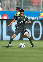Seattle Sounders FC midfielder Lamar Neagle #27 in action during an MLS game between the Seattle Sounders FC and the Toronto FC at BMO Field in Toronto on June 18, 2011..The Seattle Sounders FC won 1-0.