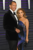 09 March 2018 - Music icon Jennifer Lopez and retired baseball star Alex Rodriguez are engaged after two years of dating. The couple then made their red carpet debut at the Met Gala in May 2017  and have inseparable since. 24 February 2019 - Los Angeles, California - Jennifer Lopez, Alex Rodriguez. 2019 Vanity Fair Oscar Party following the 91st Academy Awards held at the Wallis Annenberg Center for the Performing Arts. Photo Credit: Birdie Thompson/AdMedia