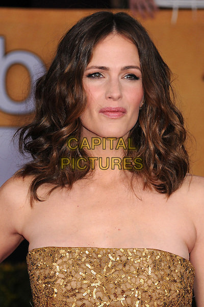 Jennifer Garner.Arrivals at the 19th Annual Screen Actors Guild Awards at the Shrine Auditorium in Los Angeles, California, USA..27th January 2013.SAG SAGs headshot portrait gold beads beaded sequins sequined .CAP/ADM/BP.©Byron Purvis/AdMedia/Capital Pictures