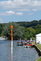 "Henley on Thames, United Kingdom, 22nd June 2018, Friday,   ""Henley Women's Regatta"",  General view,  Competitors, Rowing-Sculling, Training, Umpires Launches moored, Henley Reach, Thames Valley,  River Thames, England, © Peter SPURRIER"