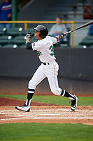 Clinton LumberKings designated hitter Dimas Ojeda (33) follows through on a swing during a game against the Lansing Lugnuts on May 9, 2017 at Ashford University Field in Clinton, Iowa.  Lansing defeated Clinton 11-6.  (Mike Janes/Four Seam Images)