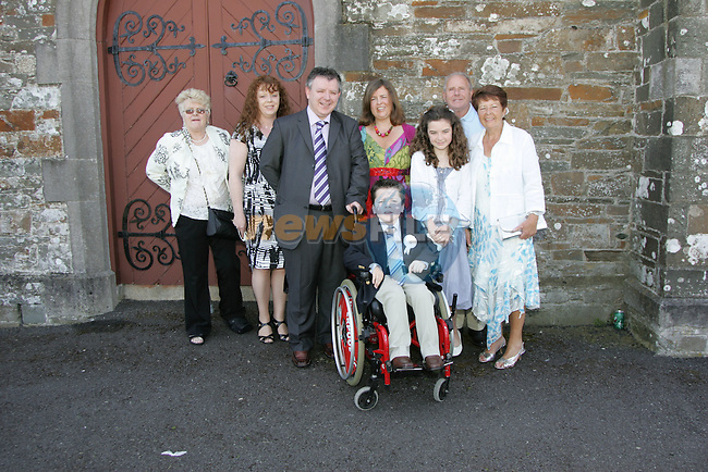 Conor Byrne made his First Communion on Saturday at Clogherhead church.Pictured here with parents Gary and Therese, sister Ciara, aunt Debbie, and grandparents Mary Coscoran and Joe and Emily Byrne.