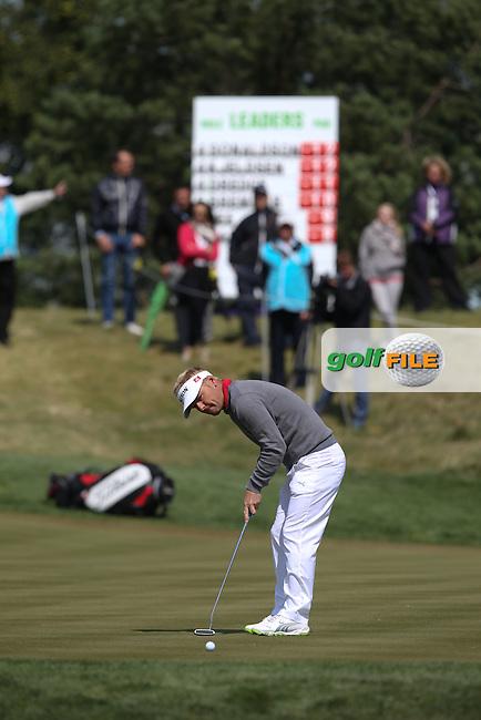 Soren Kjeldsen (DEN) sinks a birdie on the 5th during the Final Round of the D&D Real Czech Masters 2014 from the Albatross Golf Resort, Vysoky Ujezd, Prague. Picture:  David Lloyd / www.golffile.ie