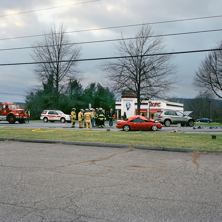 A fatal car accident in front of the KFC on Route 22 near Pawling, NY.