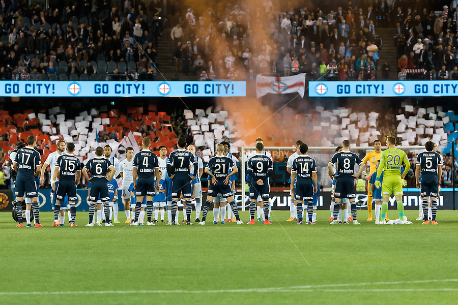 Players line up prior to the start of the semi final match between Melbourne Victory and Melbourne City in the Australian Hyundai A-League 2015 season at Etihad Stadium, Melbourne, Australia.<br />