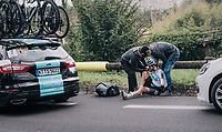 Wout Poels (NED/SKY) crashed out of the race<br /> <br /> 76th Paris-Nice 2018<br /> stage 6: Sisteron &gt; Vence (198km)