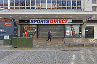 Pictured: Sports Direct with its shutters closed in Oxford Street, Swansea, south Wales, UK. Friday 20 March 2020<br /> Re: Covid-19 Coronavirus pandemic, UK.
