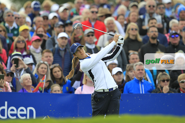 Azahara Munoz of Team Europe on the 10th tee during Day 1 Fourball at the Solheim Cup 2019, Gleneagles Golf CLub, Auchterarder, Perthshire, Scotland. 13/09/2019.<br /> Picture Thos Caffrey / Golffile.ie<br /> <br /> All photo usage must carry mandatory copyright credit (© Golffile   Thos Caffrey)