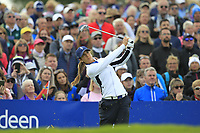 Azahara Munoz of Team Europe on the 10th tee during Day 1 Fourball at the Solheim Cup 2019, Gleneagles Golf CLub, Auchterarder, Perthshire, Scotland. 13/09/2019.<br /> Picture Thos Caffrey / Golffile.ie<br /> <br /> All photo usage must carry mandatory copyright credit (© Golffile | Thos Caffrey)