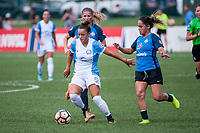 Kansas City, MO - Wednesday August 16, 2017: Camila Martins Pereira, Lo'eau Labonta during a regular season National Women's Soccer League (NWSL) match between FC Kansas City and the Orlando Pride at Children's Mercy Victory Field.