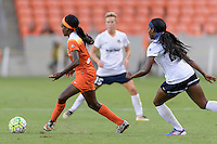 Houston, TX - Thursday Aug. 18, 2016: Chioma Ubogagu, Cheyna Williams during a regular season National Women's Soccer League (NWSL) match between the Houston Dash and the Washington Spirit at BBVA Compass Stadium.