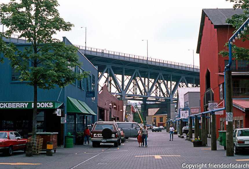 Vancouver: Granville Island, looking SE to Granville Bridge. Photo '86.