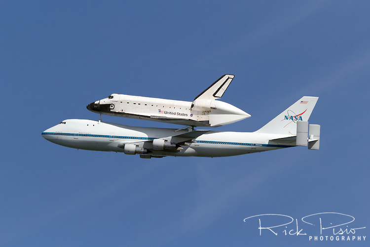 Space Shuttle Endeavour rides atop its 747 escort during the spacecrafts final flight to Southern California.