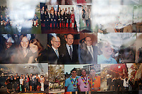 Student photo board (Prince Albert II centre) on the wall of a common room in the International University of Monaco, Fontvieille, Monaco, 19 April 2013