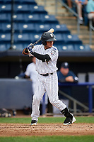 Staten Island Yankees second baseman Jesus Bastidas (2) at bat during a game against the Lowell Spinners on August 22, 2018 at Richmond County Bank Ballpark in Staten Island, New York.  Staten Island defeated Lowell 10-4.  (Mike Janes/Four Seam Images)
