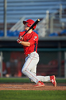 Williamsport Crosscutters third baseman Lucas Williams (12) at bat during a game against the Auburn Doubledays on June 26, 2016 at Falcon Park in Auburn, New York.  Auburn defeated Williamsport 3-1.  (Mike Janes/Four Seam Images)
