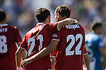 Franco Vazquez of Sevilla FC celebrates with teammate Nicholas Martin Pareja during their La Liga match between Deportivo Leganes and Sevilla FC at the Butarque Municipal Stadium on 15 October 2016 in Madrid, Spain. Photo by Diego Gonzalez Souto / Power Sport Images
