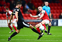 Fleetwood Town's Paddy Madden competes with Shrewsbury Town's Luke Waterfall<br /> <br /> Photographer Richard Martin-Roberts/CameraSport<br /> <br /> The EFL Sky Bet League One - Fleetwood Town v Shrewsbury Town - Saturday 13th October 2018 - Highbury Stadium - Fleetwood<br /> <br /> World Copyright &not;&copy; 2018 CameraSport. All rights reserved. 43 Linden Ave. Countesthorpe. Leicester. England. LE8 5PG - Tel: +44 (0) 116 277 4147 - admin@camerasport.com - www.camerasport.com