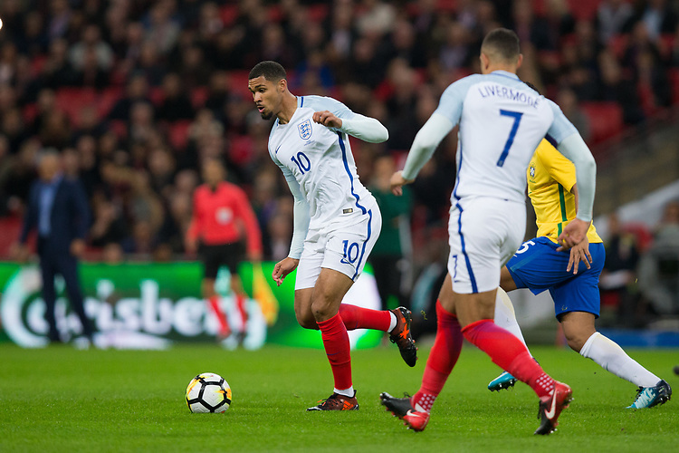 England's Ruben Loftus-Cheek in action <br /> <br /> Photographer Craig Mercer/CameraSport<br /> <br /> The Bobby Moore Fund International - England v Brazil - Tuesday 14th November 2017 Wembley Stadium - London  <br /> <br /> World Copyright &copy; 2017 CameraSport. All rights reserved. 43 Linden Ave. Countesthorpe. Leicester. England. LE8 5PG - Tel: +44 (0) 116 277 4147 - admin@camerasport.com - www.camerasport.com