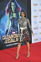 Zoe Saldana at the world premiere of her movie &quot;Guardians of the Galaxy&quot; at the El Capitan Theatre, Hollywood.<br /> July 21, 2014  Los Angeles, CA<br /> Picture: Paul Smith / Featureflash