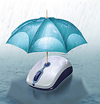 Illustrative image of umbrella covering computer mouse from rain representing online insurance