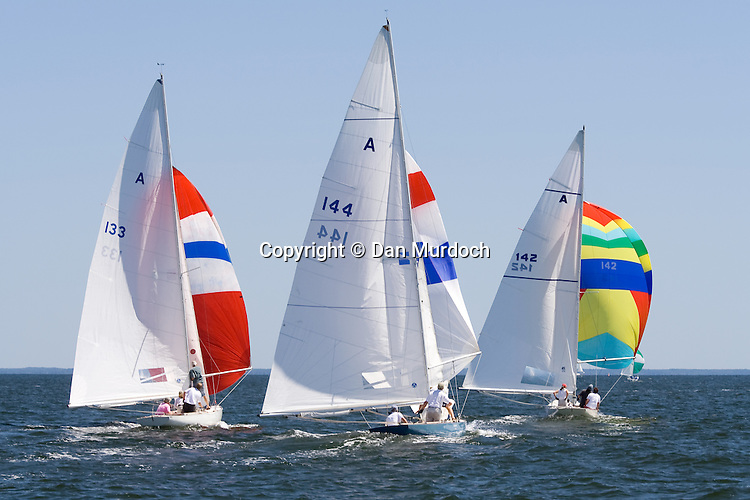 Racing sailboats with spinnakers