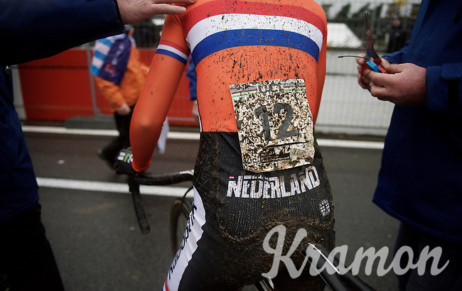 muddy #12 post-race<br /> <br /> Elite Women's race<br /> UCI 2016 cyclocross World Championships