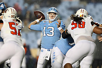 CHAPEL HILL, NC - NOVEMBER 23: Vincent Amendola #13 of the University of North Carolina throws a pass during a game between Mercer University and University of North Carolina at Kenan Memorial Stadium on November 23, 2019 in Chapel Hill, North Carolina.